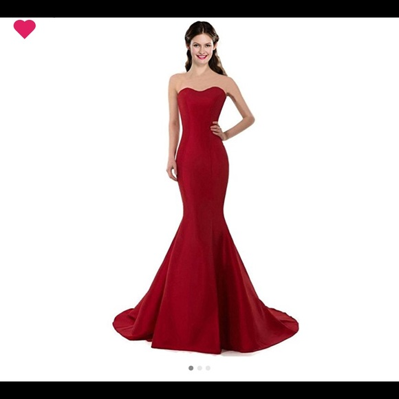 Dresses | Cherry Red Strapless Mermaid Prom Dress | Poshmark